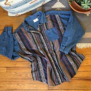 Vintage Oversize Southwestern Denim Shirt